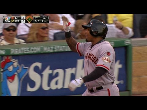 SF@PIT: Byrd smacks a two-run homer in Giants debut