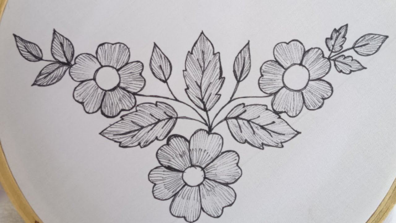 New very easy and simple hand embroidery border design for dress-kurti_Beautiful flower stitches