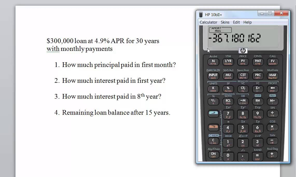 hp 10b ii loan amortization