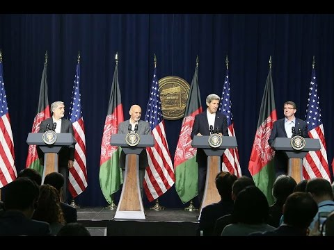 Secretaries Kerry, Carter, Afghan President Ghani & Chief Executive Abdullah from Camp David