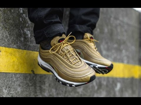 NIKE AIR MAX 97 METALLIC GOLD SNEAKER DETAILED LOOK  + REVIEW ON 1997 OG PAIR