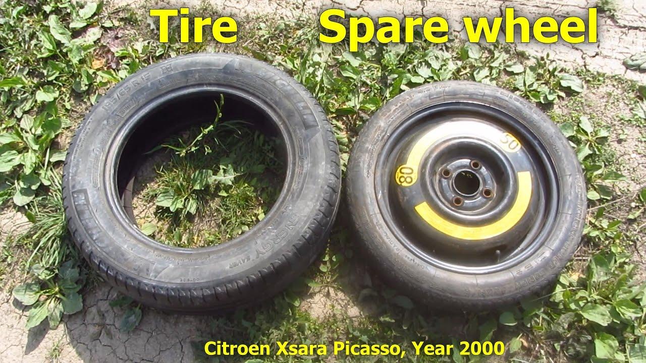 normal tire vs spare wheel xsara picasso 185 65 r15 vs 115 70 r15 youtube. Black Bedroom Furniture Sets. Home Design Ideas