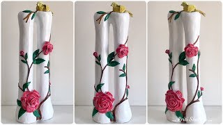 How To Make Stylish Flower Vase - 23 / Handmade Flower Pot With Bird And Rose Flowers| Priti Sharma