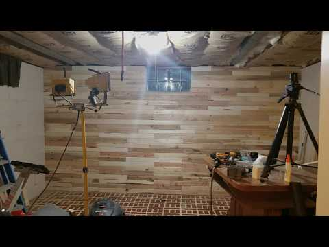 Cement Block  wall Pallet Wood Covering - DIY