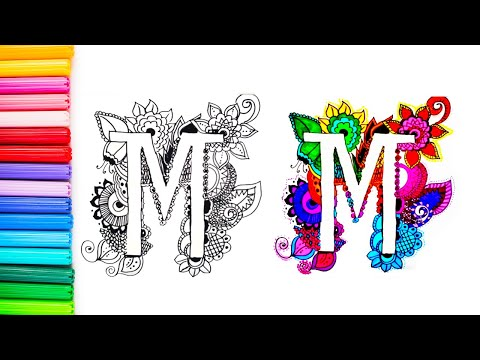 How To Draw Colorful Floral Doodles Letter M رسم و تلوين جميل مع حرف Youtube