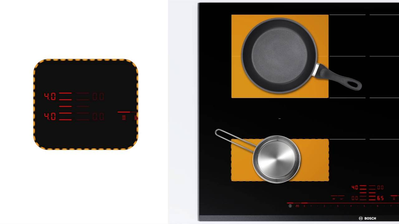 bosch flexinduction induction hob extended flexzone youtube. Black Bedroom Furniture Sets. Home Design Ideas