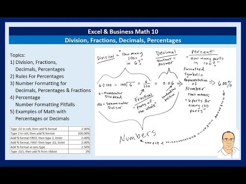 Excel & Business Math 10: Division, Fractions, Decimals, Percentages: Number Formatting & Formulas