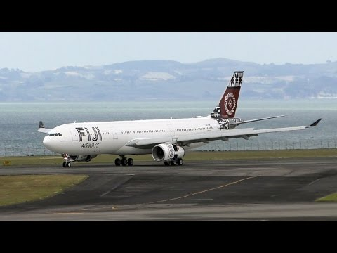 Inaugural Fiji Airways A330-300 Flight ✈ Water Salute ✈ Landing at Auckland Airport