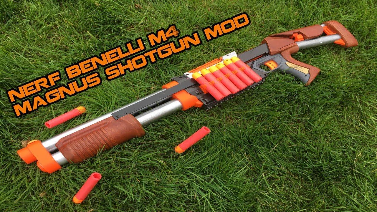 NERF BENELLI M4 SHOTGUN MOD    Wooden MEGA Magnus Mod   Walcom S7 - YouTube