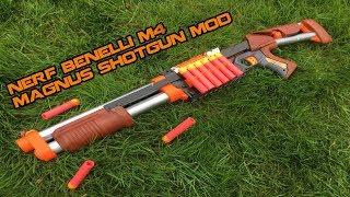 NERF BENELLI M4 SHOTGUN MOD || Wooden MEGA Magnus Mod | Walcom S7