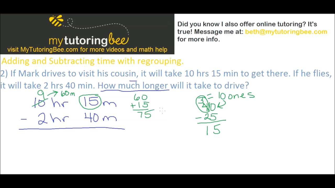 worksheet Subtracting Time adding and subtracting time with regrouping 4th up youtube