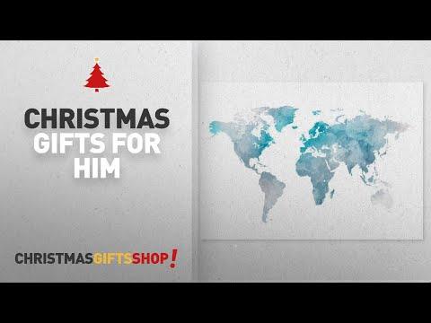 Christmas Handmade Gifts For Him: Blue Watercolour World Map Wall Art Print, Size 5x7, 8x10, 11x14,