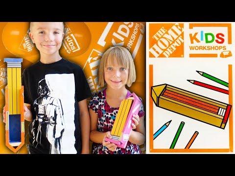 Home Depot Kids Workshop Build - Pencil Box (Family Vlog 9/2/2017)