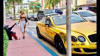 HOMELESS in GOLD BENTLEY Part 3 MIAMI Gold Digger Prank Social Experiment