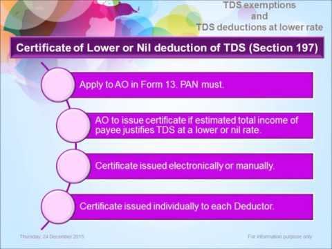 """""""TDS Exemptions And TDS Deductions At Lower Rate (Tax Deducted At Source (Part-3))"""""""