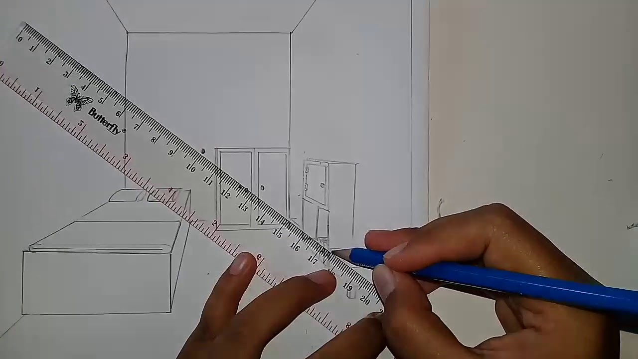 Tutorial Menggambar Perspektif Satu Titik Hilang Interior One Point Perspektif Yang Mudah Simple Youtube