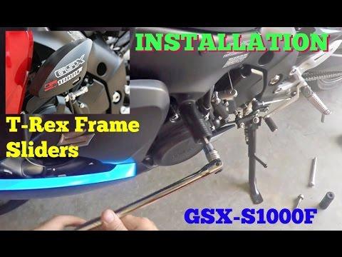 How to install Frame Sliders, GSX-S1000F T-Rex Frame Sliders - YouTube