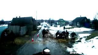 Спасение сотрудниками МЧС РБ лошади из 2 метровой яме на деревенской дороге
