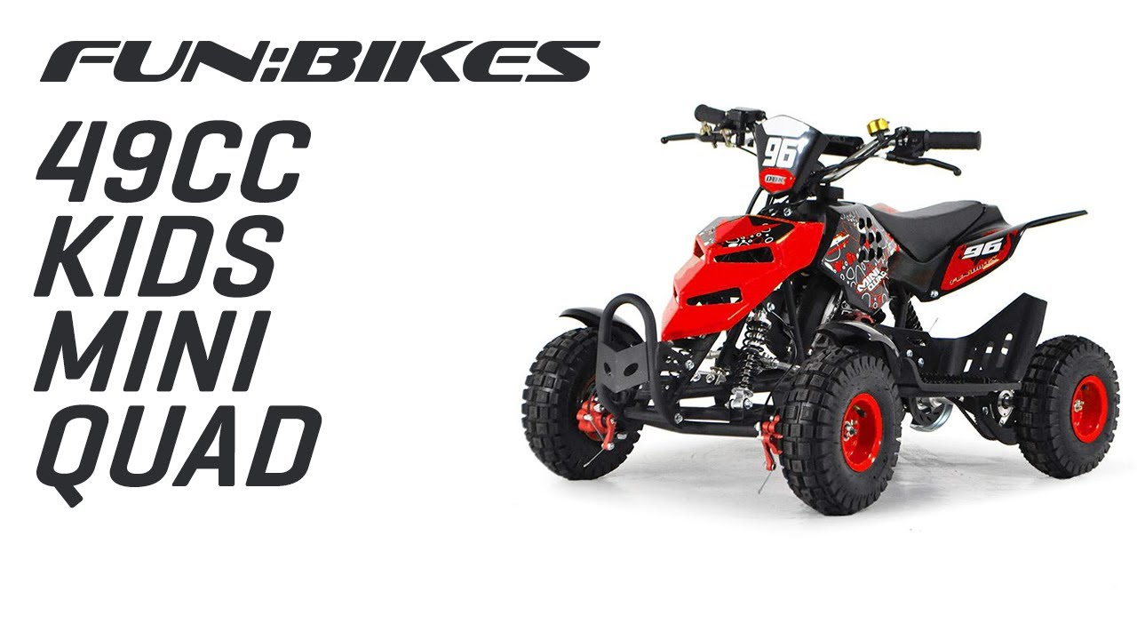 funbikes 49cc red kids mini quad bike youtube. Black Bedroom Furniture Sets. Home Design Ideas
