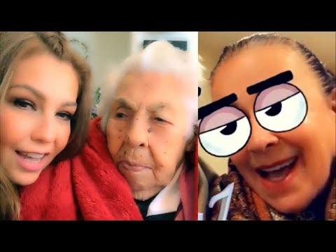 Thalía y Laura Zapata celebran 101 años de su abuela Eva con emotivo canto