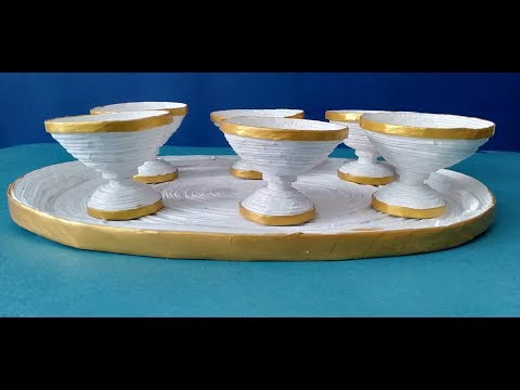 DIY - ICE CREAM BOWLS with TRAY - NEWSPAPER CRAFT - Set of Paper Bowls and  Paper Tray