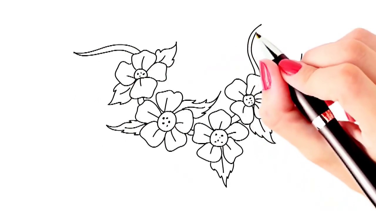 How to draw beautiful flowers easy and simple drawing YouTube