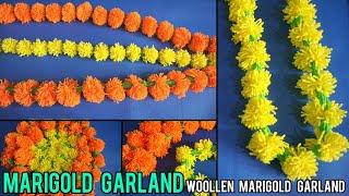 Marigold garrland  How to make woollen marigold garland garland