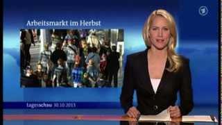 """Klein, aber fein: in der 20-uhr-tagesschau vom 30. oktober 2013 bleibt judith rakers am wort """"statistisches bundesamt"""" hängen, was zwar zum täglichen brot ei..."""