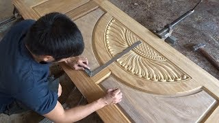 Amazing Woodworking Skill // Making A Front Door Beautiful Easy