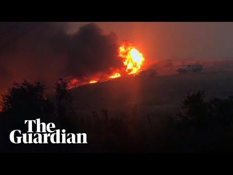 Tasmania Fire Burns Through The Night