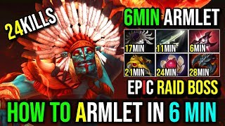 Raid Boss [Huskar] How to Fast Armlet in 6Min INSANE BURNING SPEAR 24Kills By Moo | Dota 2 FullGame