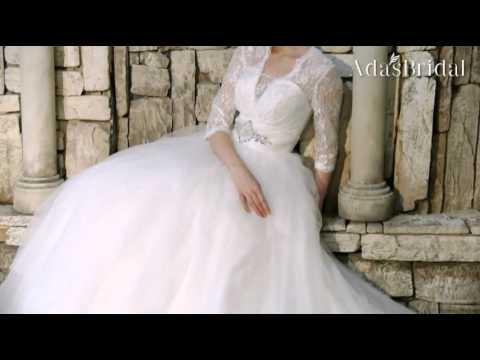 Lace & Tulle V-neck Neckline Ball Gown Wedding Dress - Adasbridal (WWD42636)