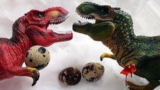 Динозавры. Битва за ЯЙЦО ДИНОЗАВРА! Тираннозавры vs Гигантозавра мультфильм на русском Игрушки ТВ