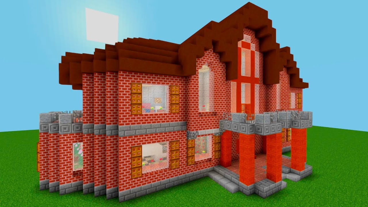 Minecraft How To Build A Medium Sized Brick House Design Idea 40x25 Blocks Home Project11