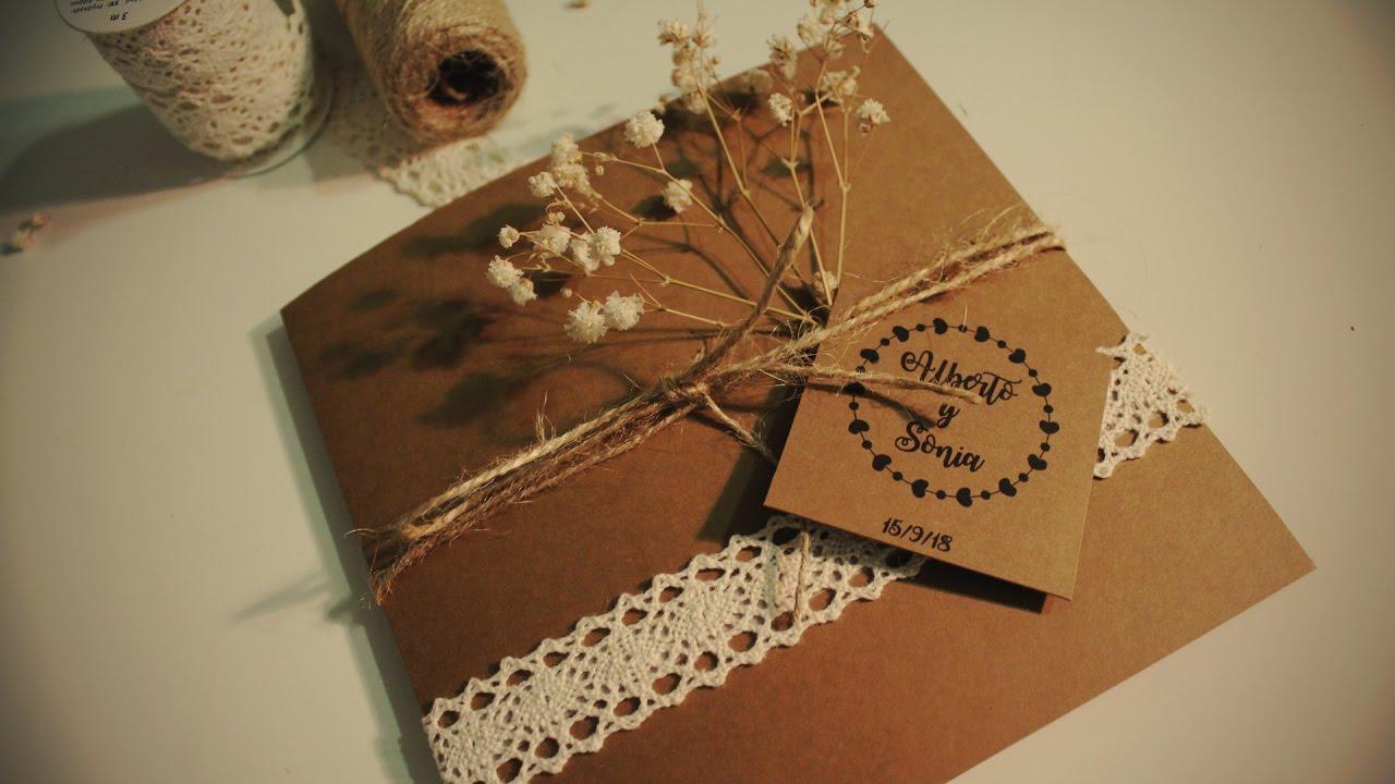 Diy invitaci n f cil para boda youtube - Flores de telas hechas a mano ...