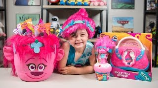 HUGE Trolls Movie Poppy Surprise Bucket Blind Bags Surprise Eggs Toys for Girls Kinder Playtime