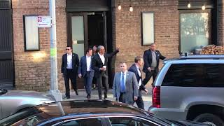 President Barack Obama leaving the Greenwich Hotel