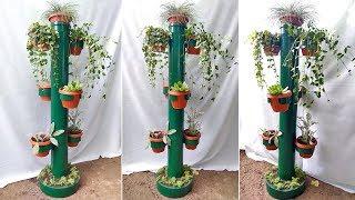 Подставка под цветы из пластиковой трубы. Поделки для сада