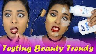 Testing Popular YouTube Beauty Trends/Hacks - Nivea primer, Baby Powder Baking, Peel off Makeup?