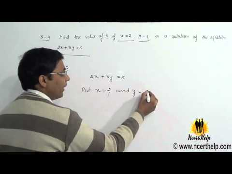 How to find value of k if x = 2  and y = 1 in a equation 2x + 3y = k using substitution method
