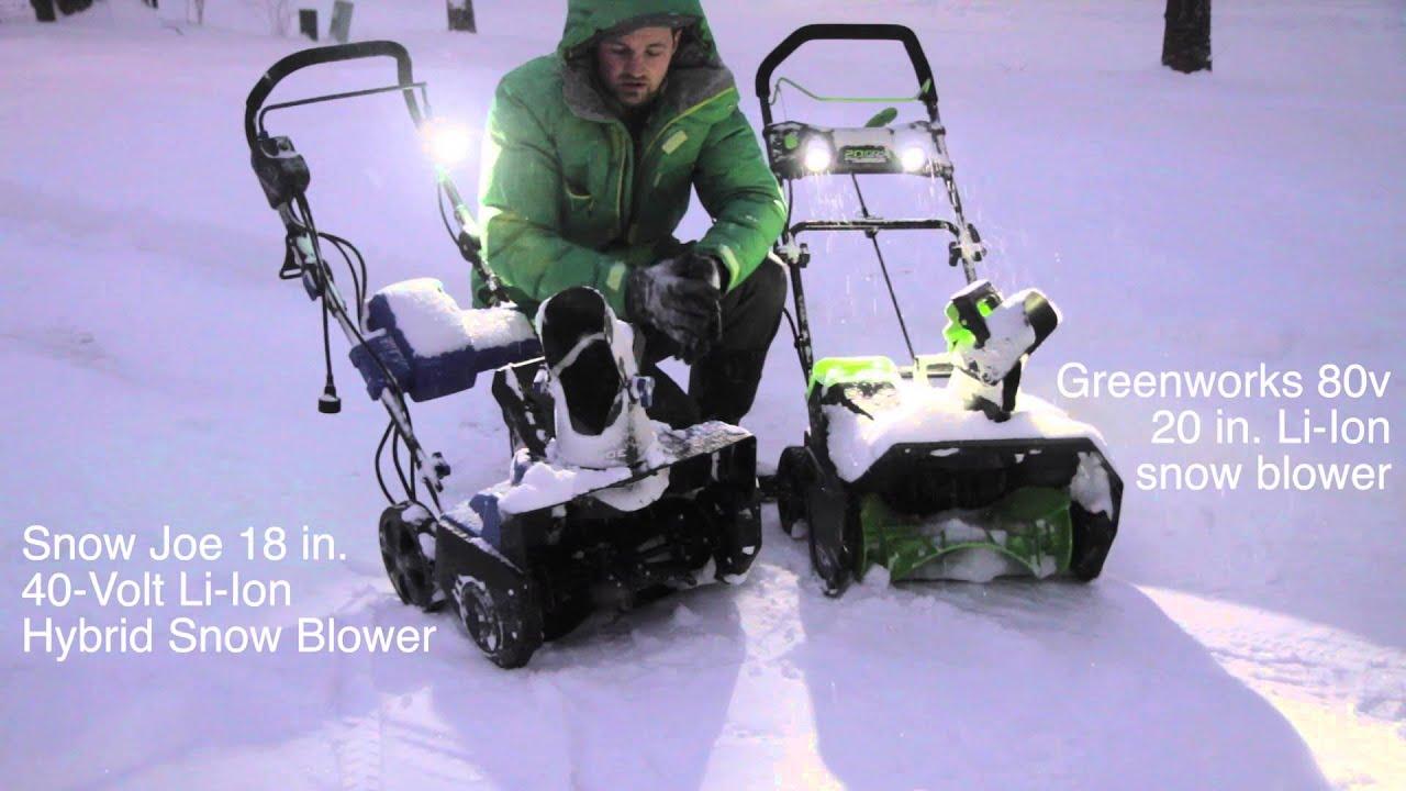 Greenworks vs Snow Joe: Real world comparison - YouTube