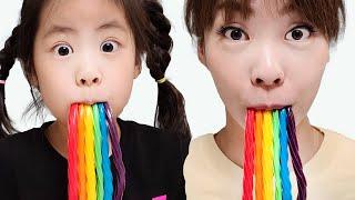 빨대가 없다고? 서은이의 무지개 빨대 젤리 음료수 젤리 빨대 먹방 Rainbow Straw Jelly Seoeun Story