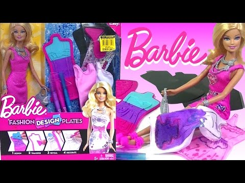 Barbie Fashion Design Plates Design Your Own Barbie Doll Dress Kids Toys Youtube