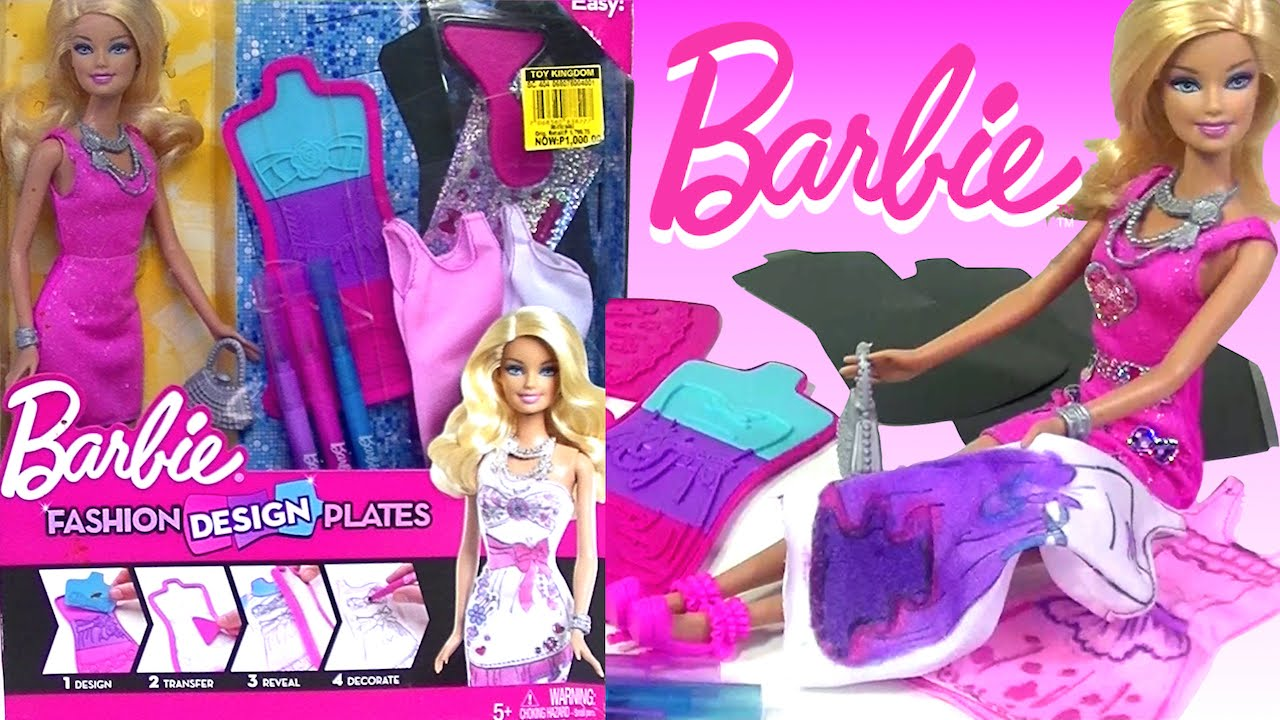 BARBIE Fashion Design Plates Design Your Own Barbie Doll Dress - Kidsu0027 Toys - YouTube  sc 1 st  YouTube & BARBIE Fashion Design Plates Design Your Own Barbie Doll Dress ...