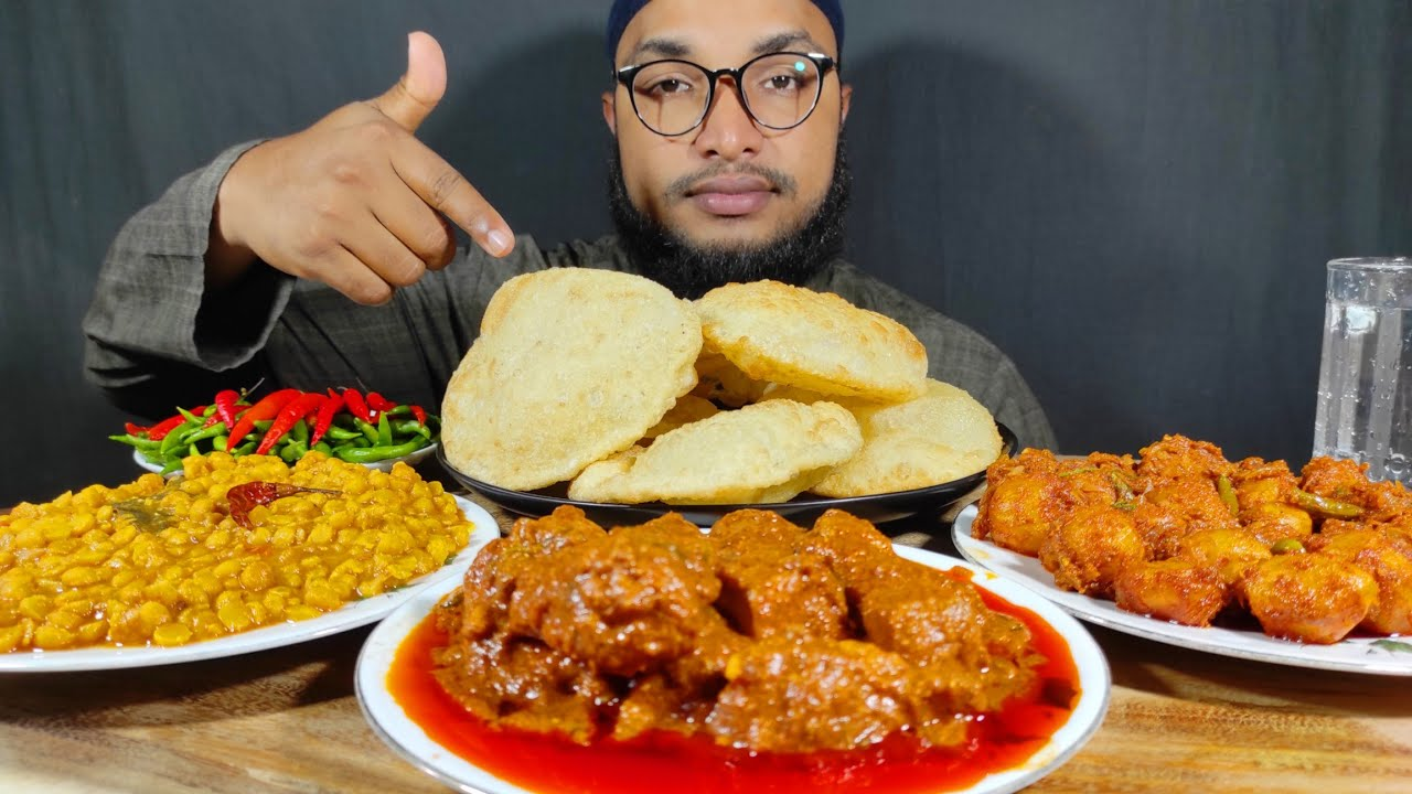 SPICY BUTTER CHICKEN, DAL, CHILLI, DUM ALOO WITH LUCHI EATING SHOW   ASMR MUKBANG   EATING VIDEOS