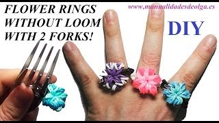 How to make a Flower Ring (EASY) with 2 forks. Without rainbow loom. rubber bands flower ring