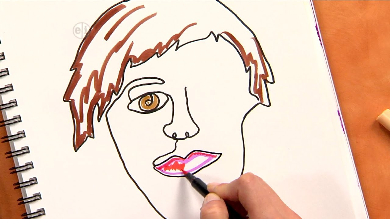 How to draw an abstract self portrait fun art project for kids and adults youtube