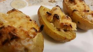 Картошка фаршированная куриным филе в сметане