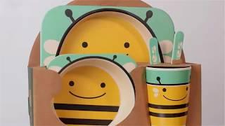 Happy Kids Набор детской посуды из бамбука