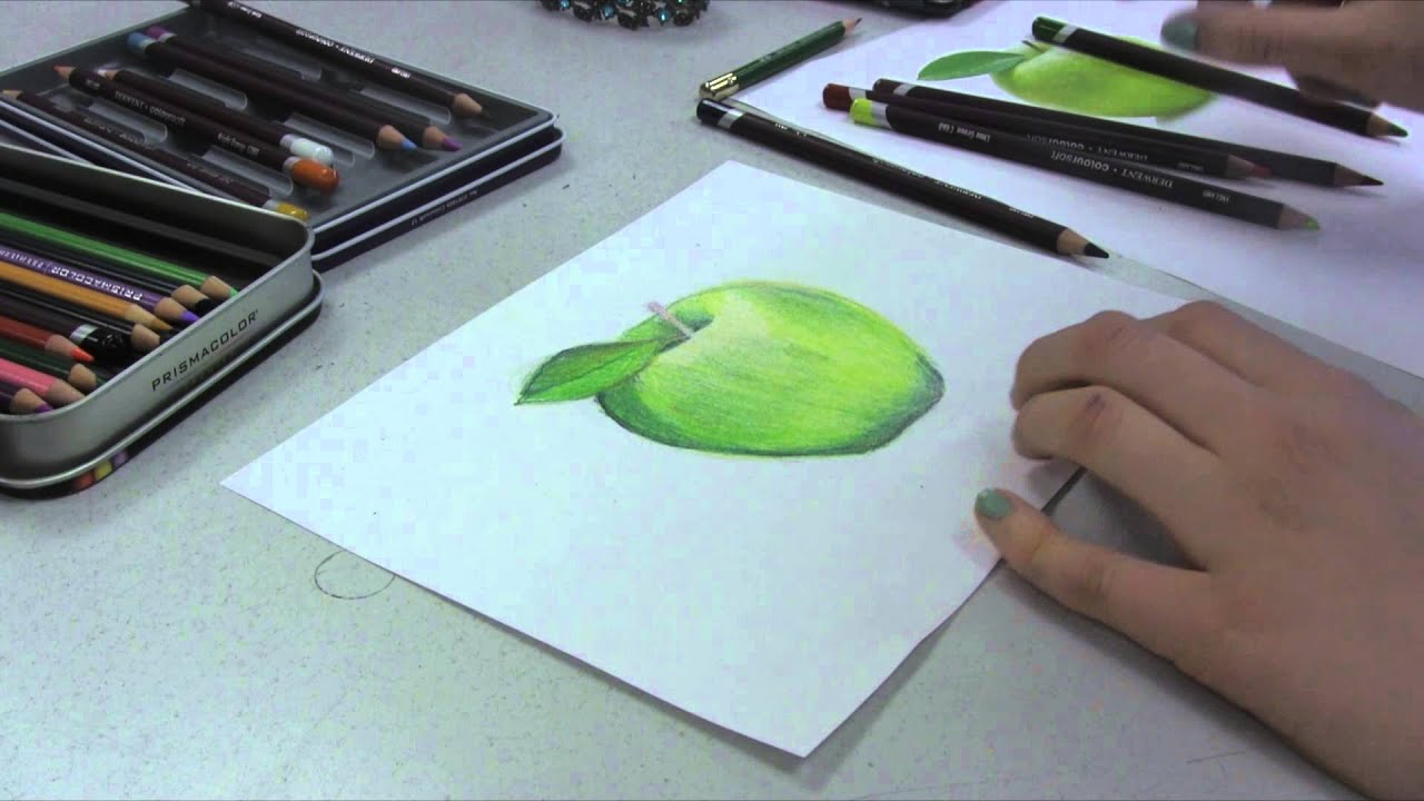Drawing An Apple With Colored Pencils Youtube Pencil Case Boxes 6116